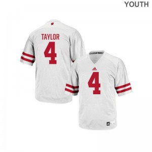 University of Wisconsin College Jersey A.J. Taylor Kids Replica White