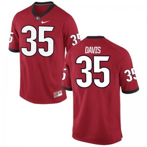 UGA Bulldogs Player Jerseys of Aaron Davis Red For Men Game