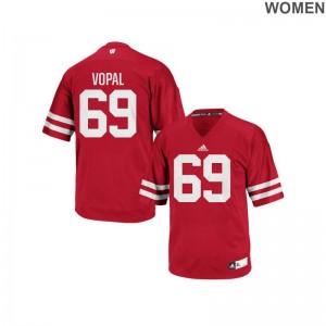 Wisconsin Badgers Aaron Vopal Jerseys Replica Red Women