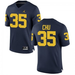 Brian Chu Michigan Football Jerseys Men Game Jerseys - Jordan Navy