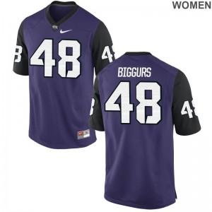 Limited Caleb Biggurs High School Jersey Horned Frogs Womens - Purple Black