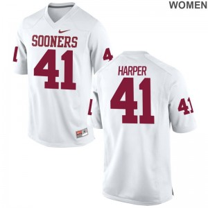 Oklahoma Casey Harper High School Jersey Limited White Womens Jersey