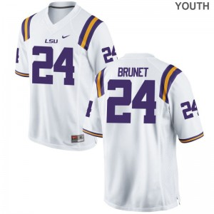 LSU Tigers Jersey of Colby Brunet Game White Youth(Kids)