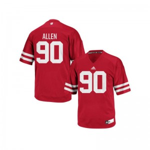 Connor Allen Mens Wisconsin Badgers Jersey Red Authentic Player Jersey