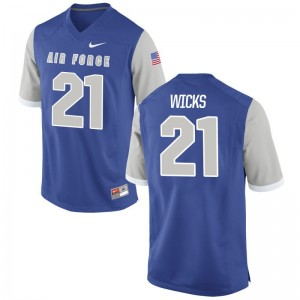 Game Air Force Falcons D'Morea Wicks Mens Royal Jersey S-3XL