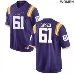 LSU David-Michael Carrell High School Jerseys Purple Limited Womens Jerseys