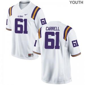 Game Louisiana State Tigers David-Michael Carrell Youth(Kids) White High School Jerseys