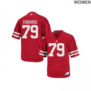 Authentic David Edwards Jersey S-2XL Wisconsin Badgers Red Ladies