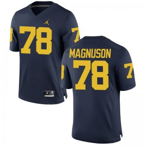 Michigan Wolverines Erik Magnuson Jerseys Mens Jordan Navy Game