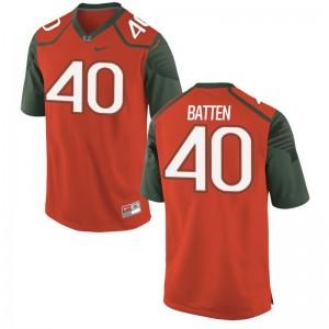 Gage Batten University of Miami Game For Kids Football Jersey - Orange