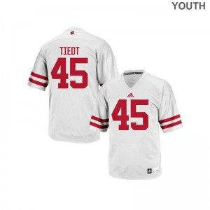 S-XL Wisconsin Hegeman Tiedt Jersey For Kids Authentic White Jersey