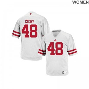 Wisconsin Jack Cichy Authentic Womens White Jersey