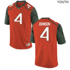 Jaquan Johnson Miami Hurricanes College Jersey Orange Youth(Kids) Limited