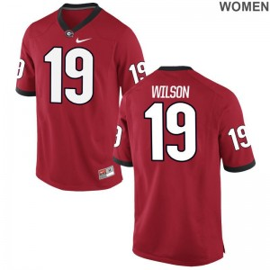 UGA Bulldogs Jarvis Wilson Football Jerseys Women Red Limited