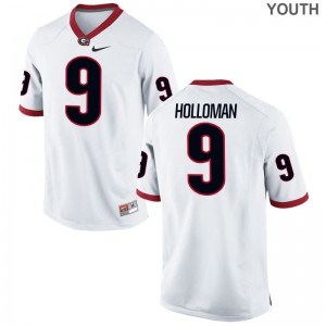 Jeremiah Holloman Game Jersey Kids College Georgia Bulldogs White Jersey