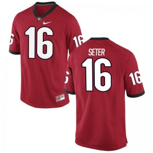 Limited Red John Seter Jerseys Mens Georgia Bulldogs