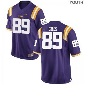 LSU Purple Youth(Kids) Game Jonathan Giles College Jerseys