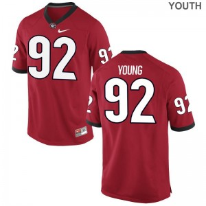 Georgia NCAA Jerseys of Justin Young For Kids Red Game