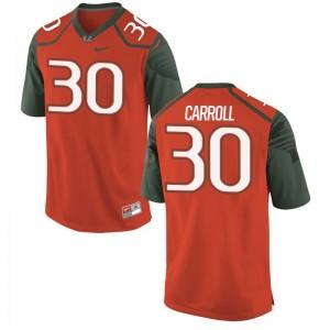 Miami Hurricanes Football Kevin Carroll Game Jerseys Orange Youth(Kids)
