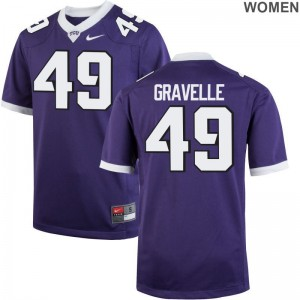 Game Lucas Gravelle Jersey S-2XL Horned Frogs For Women Purple