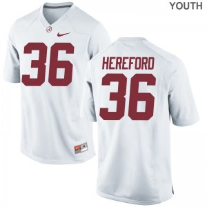Alabama Mac Hereford Jersey Game Youth(Kids) White Jersey