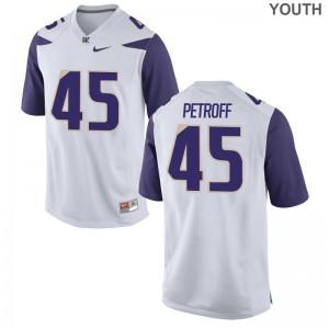 Washington Huskies Mike Petroff Football Jerseys Limited Youth(Kids) Jerseys - White