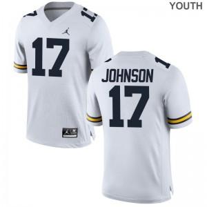 Michigan Nate Johnson Youth(Kids) Limited Jordan White Jersey