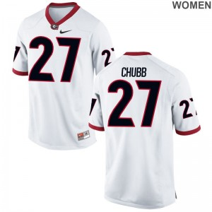 Women Game Player UGA Bulldogs Jersey Nick Chubb White Jersey