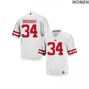 Authentic White Sam Brodner NCAA Jersey Ladies University of Wisconsin