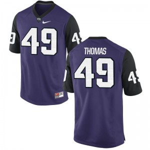 Semaj Thomas Horned Frogs Men Jersey Purple Black College Game Jersey