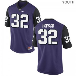 Travin Howard Youth(Kids) Purple Black NCAA Jersey TCU Horned Frogs Game