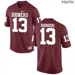 OU Tre Norwood Limited For Kids College Jerseys - Crimson