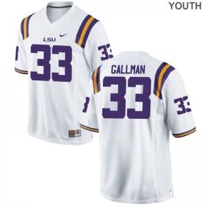 Trey Gallman Youth Jerseys S-XL Game LSU - White