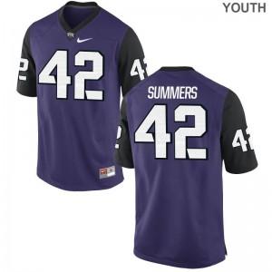 Texas Christian University Ty Summers Football Jerseys Purple Black Game Kids