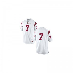 Limited For Kids #7 White Trojans High School Jerseys of Matt Barkley