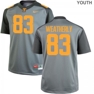 Game Zack Weatherly Jersey Tennessee Volunteers Gray Kids