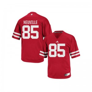 Red Authentic Zander Neuville Jerseys Mens Wisconsin Badgers
