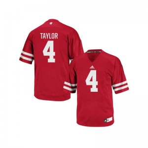 University of Wisconsin Player A.J. Taylor Authentic Jerseys Red For Men