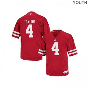 Wisconsin A.J. Taylor Football Jersey Red Authentic Youth(Kids) Jersey