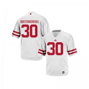 Aaron Maternowski Wisconsin Badgers White Mens Replica Jersey