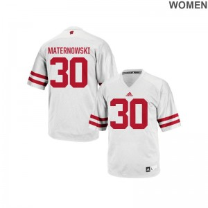 Womens Aaron Maternowski Jerseys S-2XL Wisconsin Badgers Authentic - White