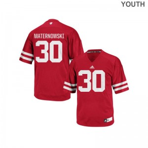 Red Authentic Aaron Maternowski Jersey S-XL Youth Wisconsin