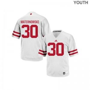 Aaron Maternowski University of Wisconsin Jersey Authentic White Kids