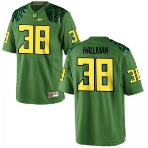 University of Oregon Jersey S-3XL of Alec Hallman For Men Game - Apple Green