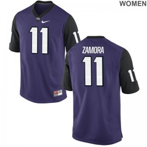 TCU Asaph Zamora Jerseys S-2XL Game Purple Black For Women