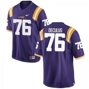 S-3XL LSU Austin Deculus Jerseys Player Mens Game Purple Jerseys