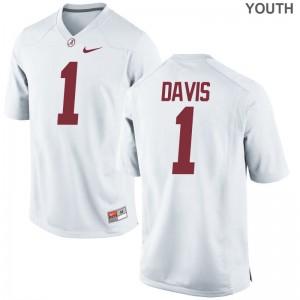University of Alabama Ben Davis NCAA Jerseys White Limited Youth(Kids)