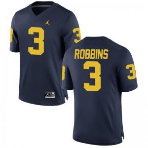 University of Michigan Jerseys Brad Robbins Game Mens Jordan Navy