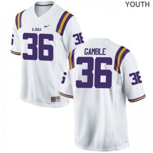 Cameron Gamble Youth(Kids) Jerseys S-XL Louisiana State Tigers Game - White