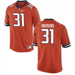 Men Game Orange UIUC Jersey Cameron Watkins